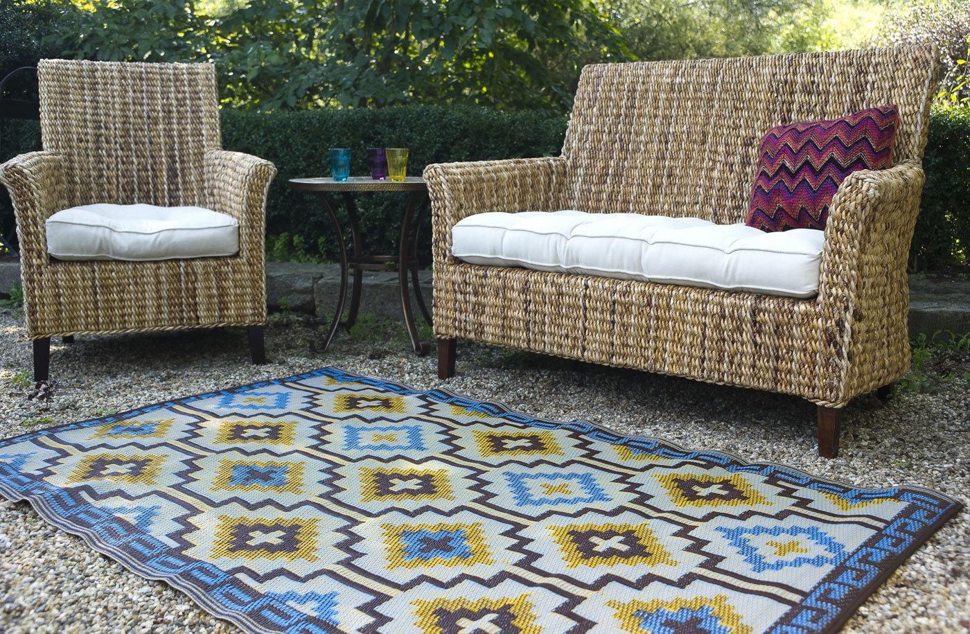 Plastic kelim tapijt voor buiten en binnen dubbelzijdig kleurvast