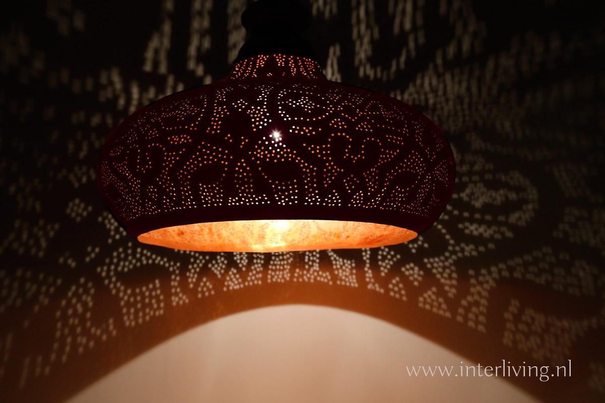Top industriele open hanglamp - vintage (rood) koper met hout - webshop LC76