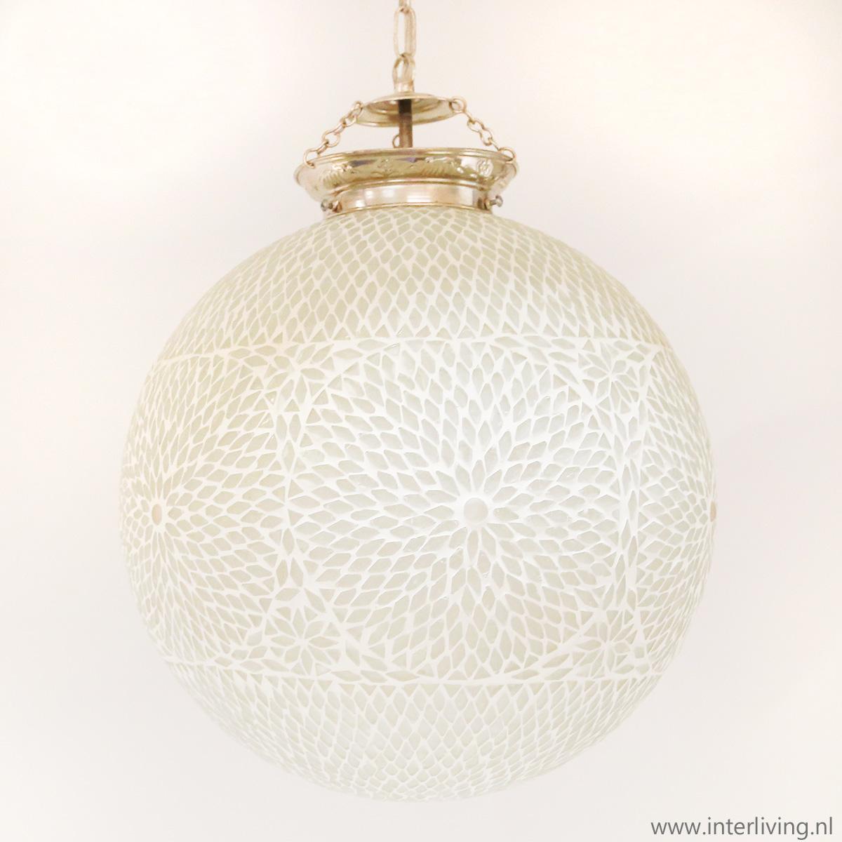 hanglamp oosters licht restaurant bar verlichting glas hanglamp oosterse bol wit moderne stijl glas mozaiek koop in onze webshop