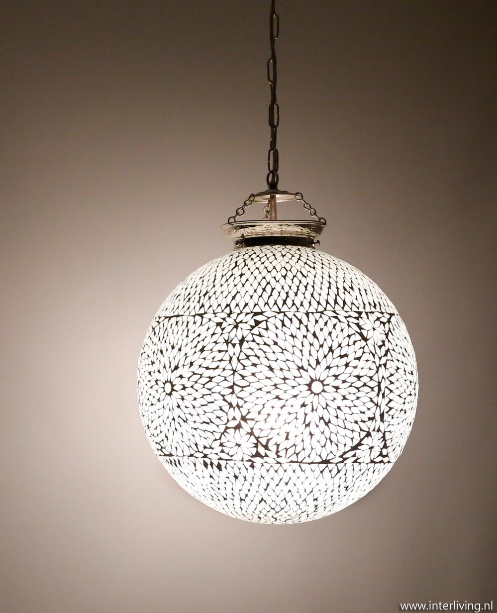 Beroemd oosterse grote bol hanglamp wit glas modern mozaiek tiffany art-deco YG45