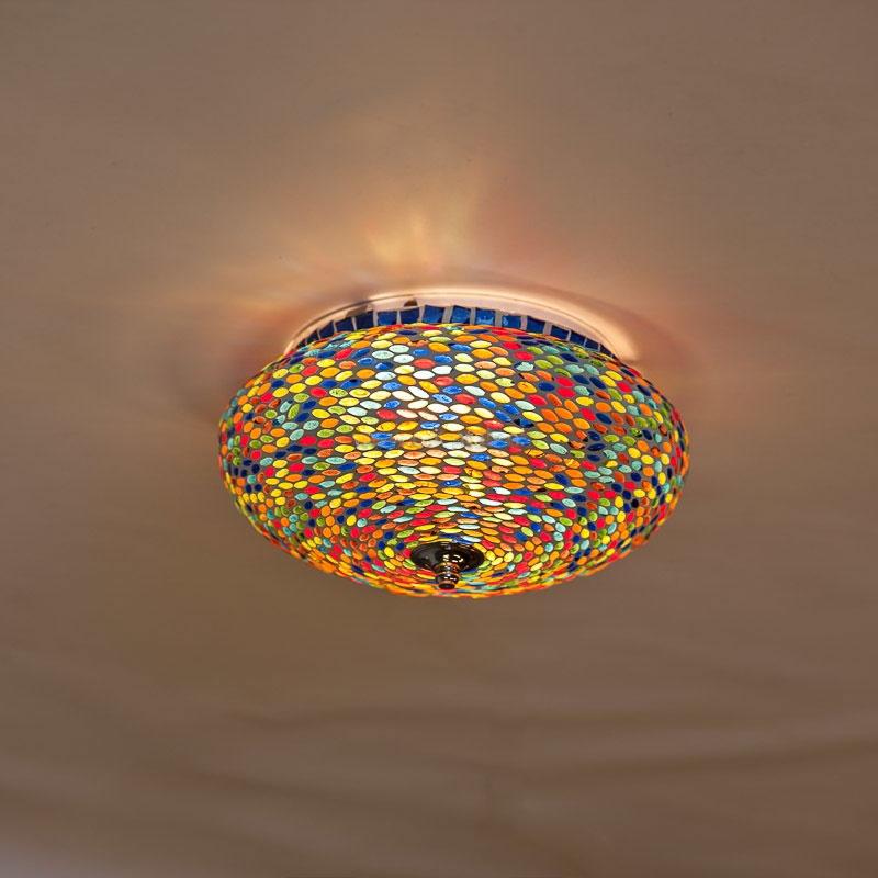 Onwijs oosterse plafondlamp met patroon van kleurrijk glasmozaiek GC-98