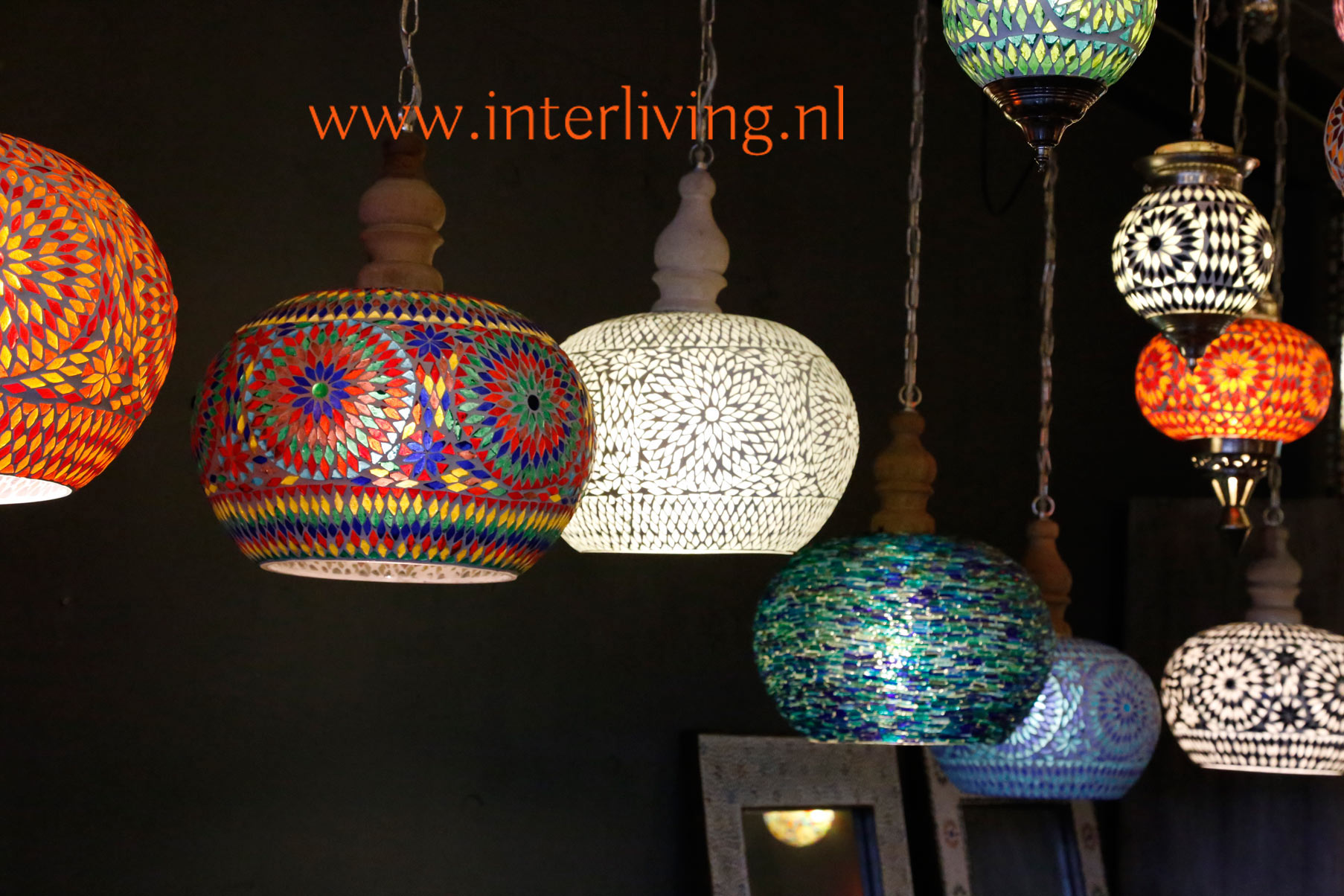 Verwonderend oosterse lampen en mozaïekverlichting: glasmozaïek en gaatjeslampen MM-07