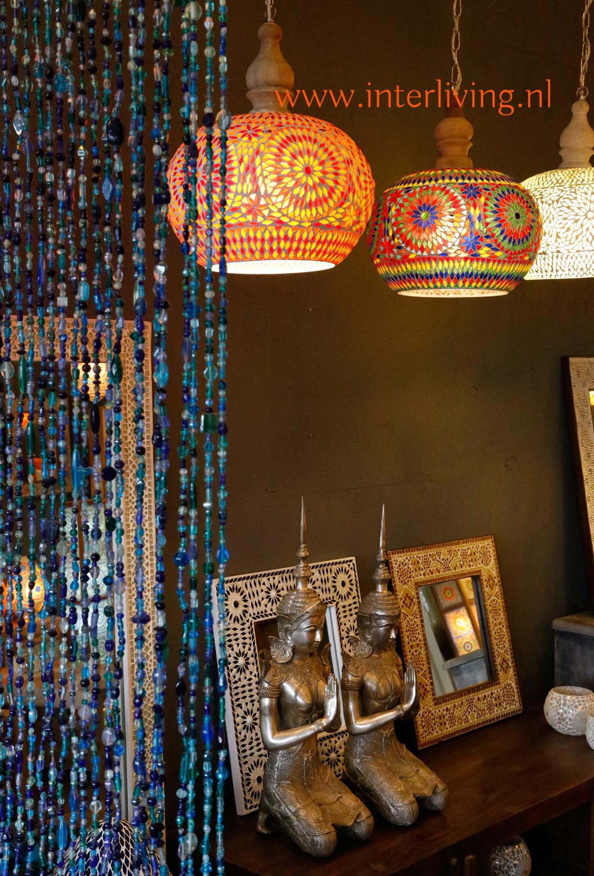 Ongebruikt oosterse lampen en mozaïekverlichting: glasmozaïek en gaatjeslampen HL-13