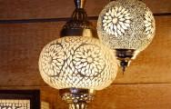 Oosterse hanglamp met transparant glasmozaiek