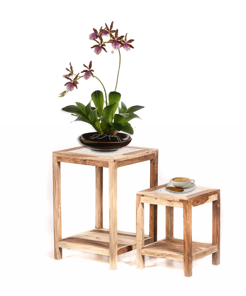 Bijzettafeltje van hout en glas handgemaakt sfeervol ruimte besparend - Ruimte model kamer houten ...