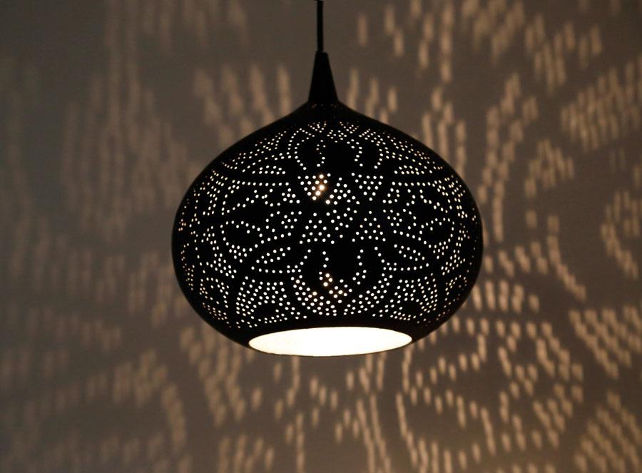Filigrain lampen open hanglampen matzwart - goud en zilver binnenkant