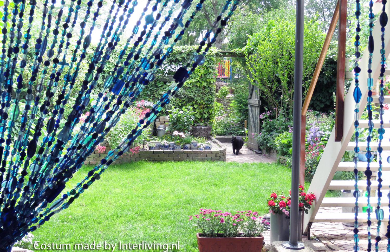 glaskralengordijn op maat ook mooi voor de schuifpui raamdecoratie. Black Bedroom Furniture Sets. Home Design Ideas