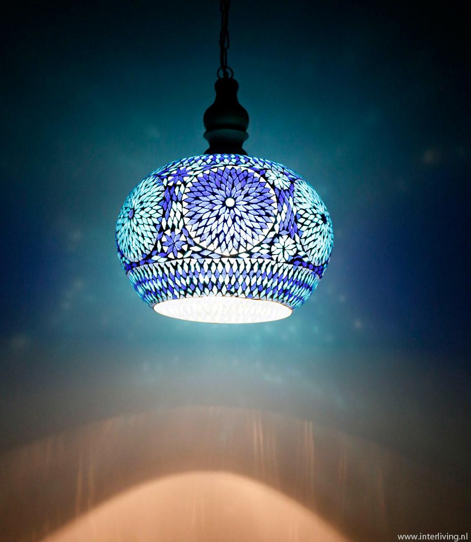 grote hanglamp - model appel van glasmozaïek met duurzaam hout retro