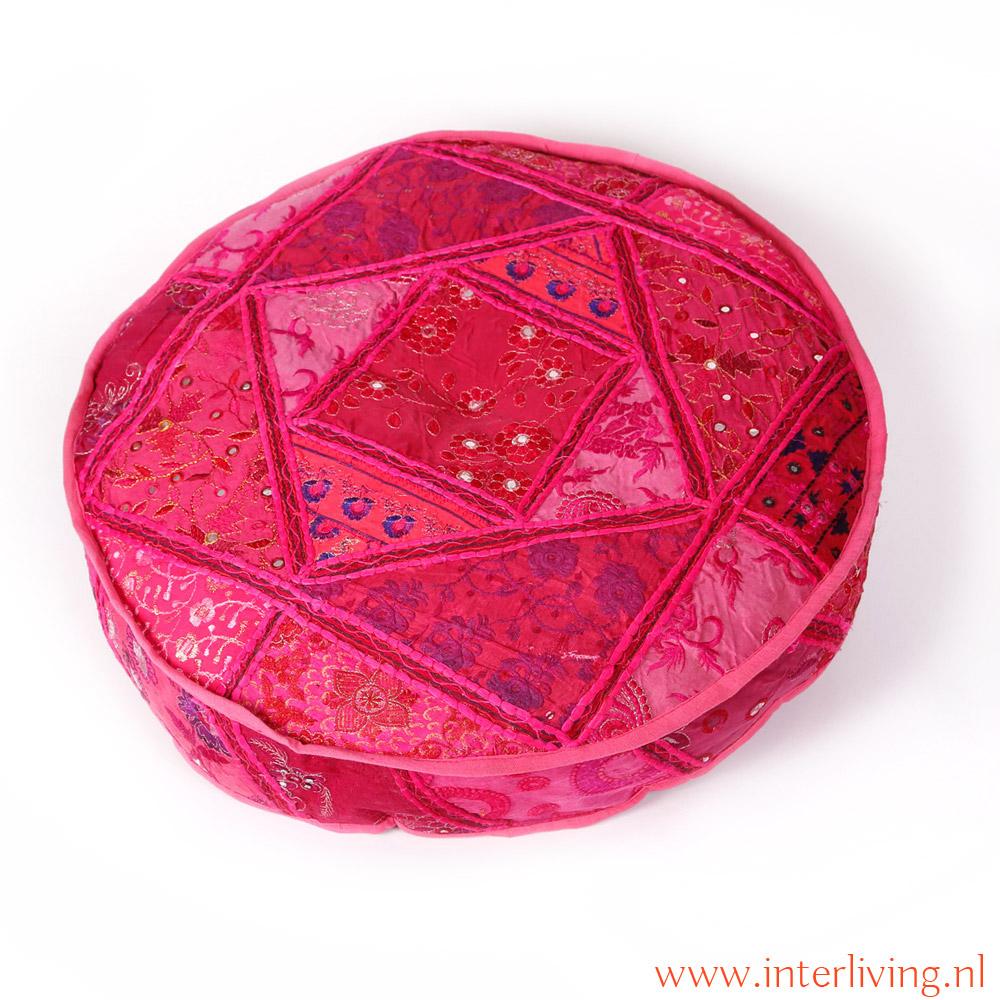 Indiase ronde matraskussens meditatiekussens voor op de chakki tafel - Oosters stof ...