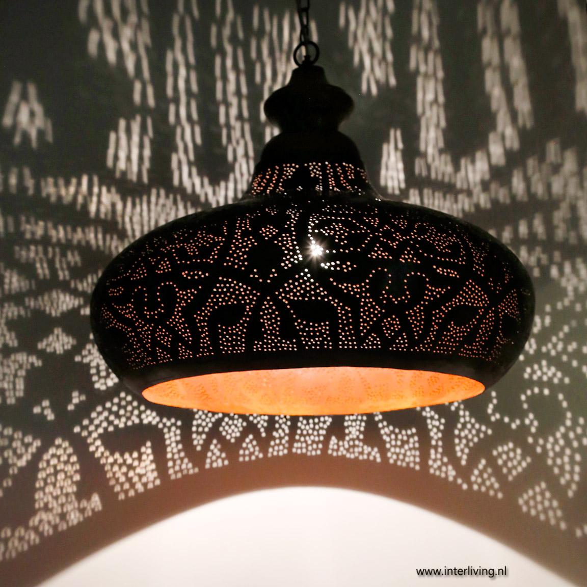 Industriële hanglamp met oosterse twist en hout - roest,zwart,goud