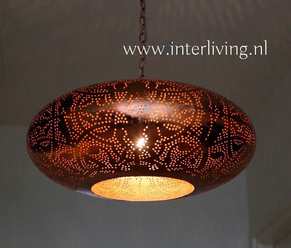Oosterse hanglamp filigrain ufo - vintage koper voor boven eettafel