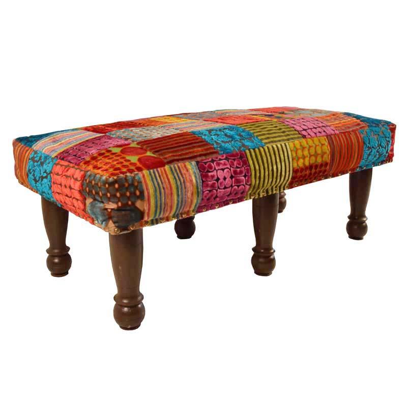 te koop in de webshop kleurrijk patchwork poef kruk. Black Bedroom Furniture Sets. Home Design Ideas