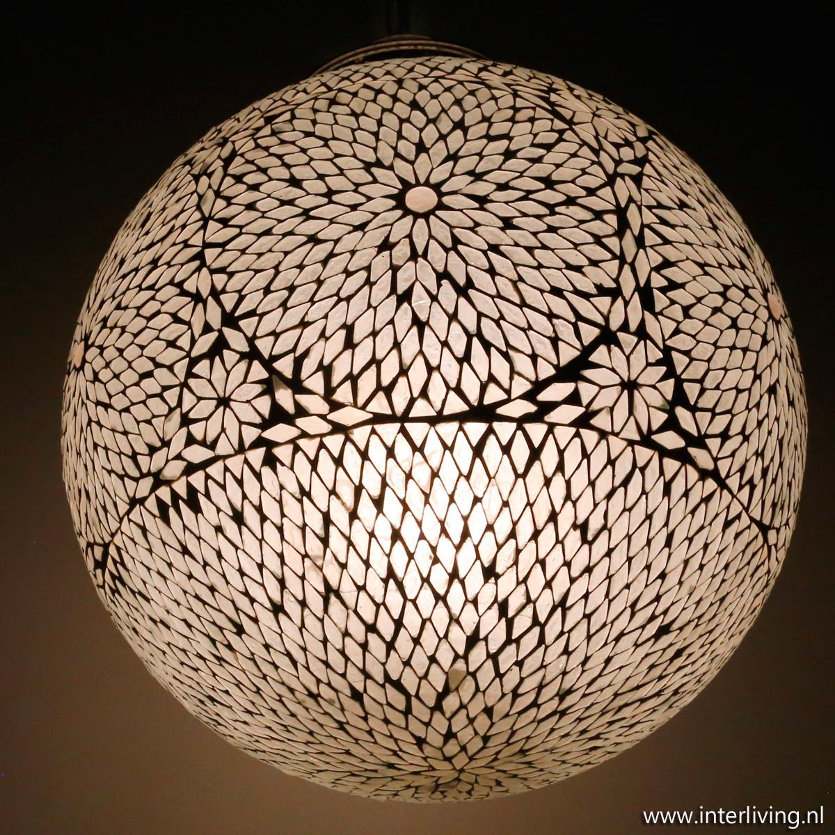 Oosterse Grote Bol Hanglamp Wit Glas Modern Mozaiek