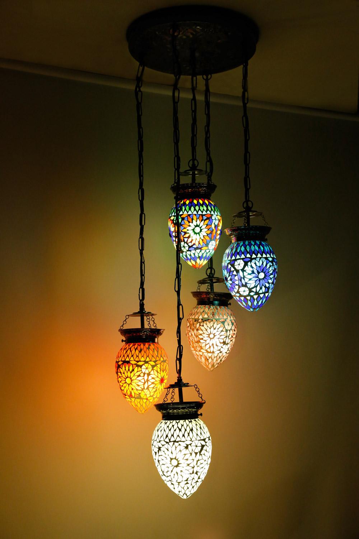 papaya 5 bollen hanglamp of ei oosterse kroonluchter stijl: kleurrijk!