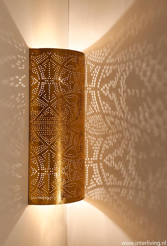 Oosterse langwerpige wandlamp met gaatjes - koper zilver ...