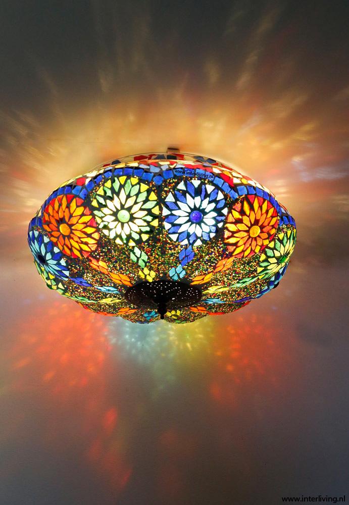 plafondlamp van glasmozaïek met kralen - 25 cm, model pompoen