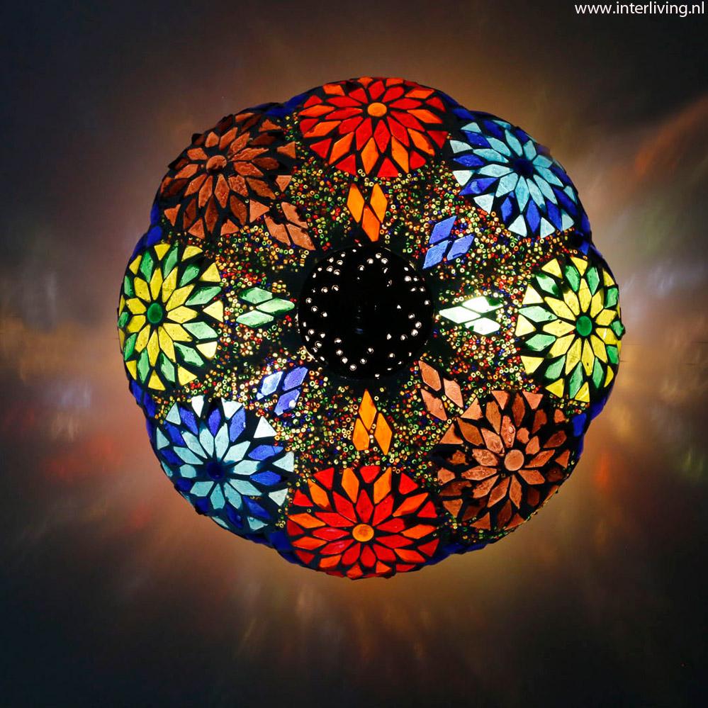 Oosterse plafonniere   model pompoen, meloen of bloem van glasmozaïek