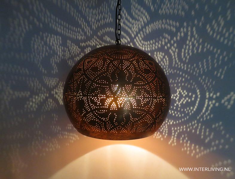vintage koper sfeerverlichting hanglamp koperlook filigrain