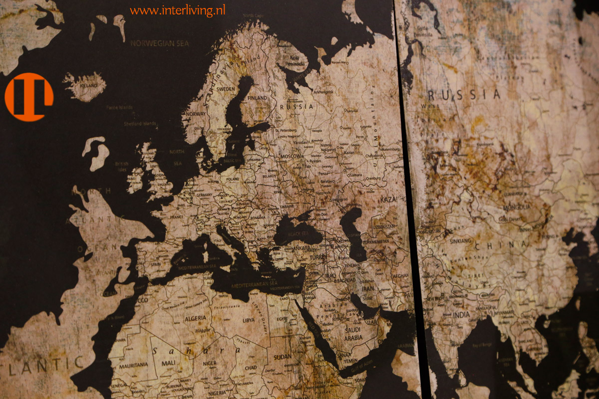Antieke Wereldkaart Vintage Landkaart Op Canvas Of Wandpaneel