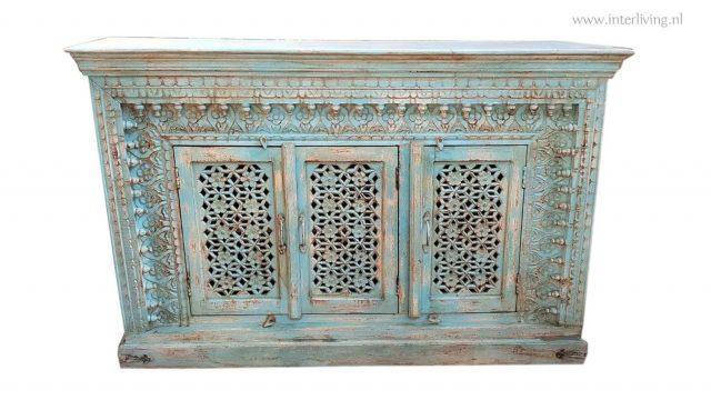 Indiaas dressoir - vintage - aqua blauw