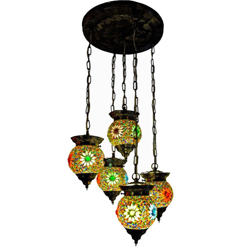 hanglamp met 5 bollen mozaïek kralen hanglamp met 5 bollen mozaïek ...