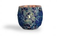 Blauwe waxinehouders mozaiek en kralen. Prijs per twee stuks!