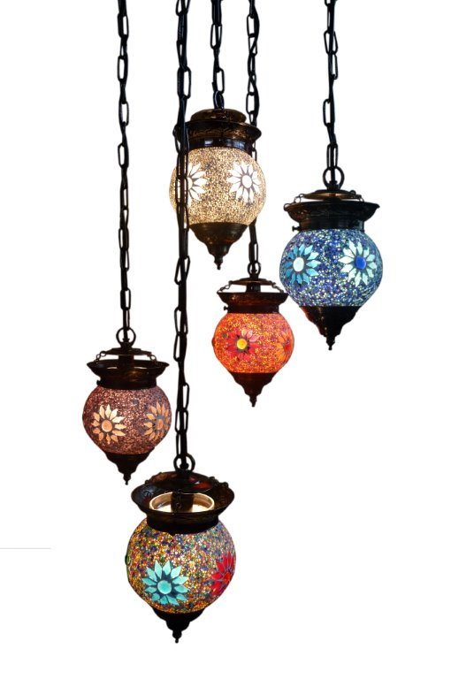 oosterse hanglamp met 5 bollen mozaiek kralen oosterse sfeer in huis
