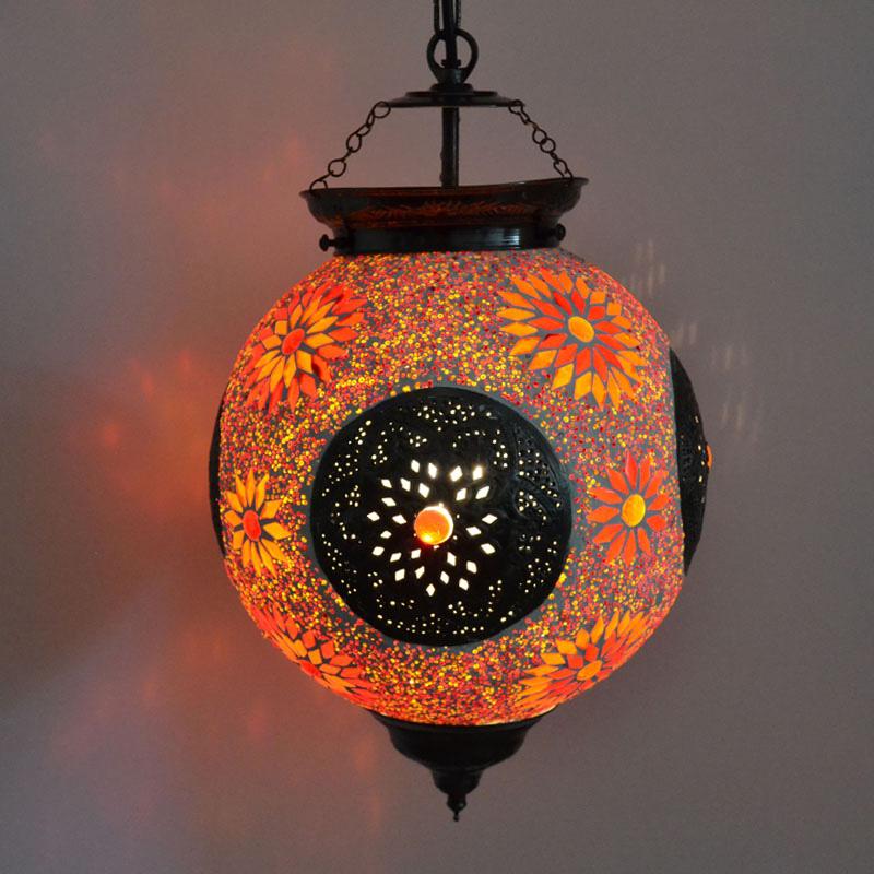 turkse lamp met mozaiek kralen en metalen inleg bestellen in de shop