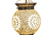 Transparante hanglamp van mozaiek en kralen<br>&Oslash; 15 cm: EUR 55<br> &Oslash; 25 cm: EUR 99<br>