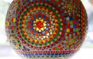Hanglamp bol met kleurrijk mozaiek