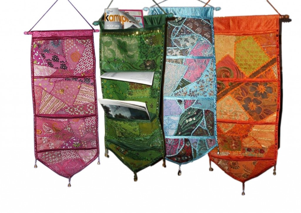 oosterse duurzame patchwork tijdschrifthouders sari stof