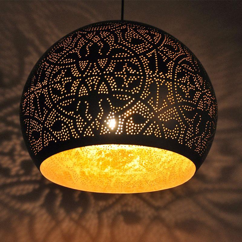 Wonderbaarlijk hanglamp bol filigrain metaal mat zwart finish goudkleurig oosters RQ-79