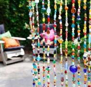 40 strings glaskralen gordijn met belletje