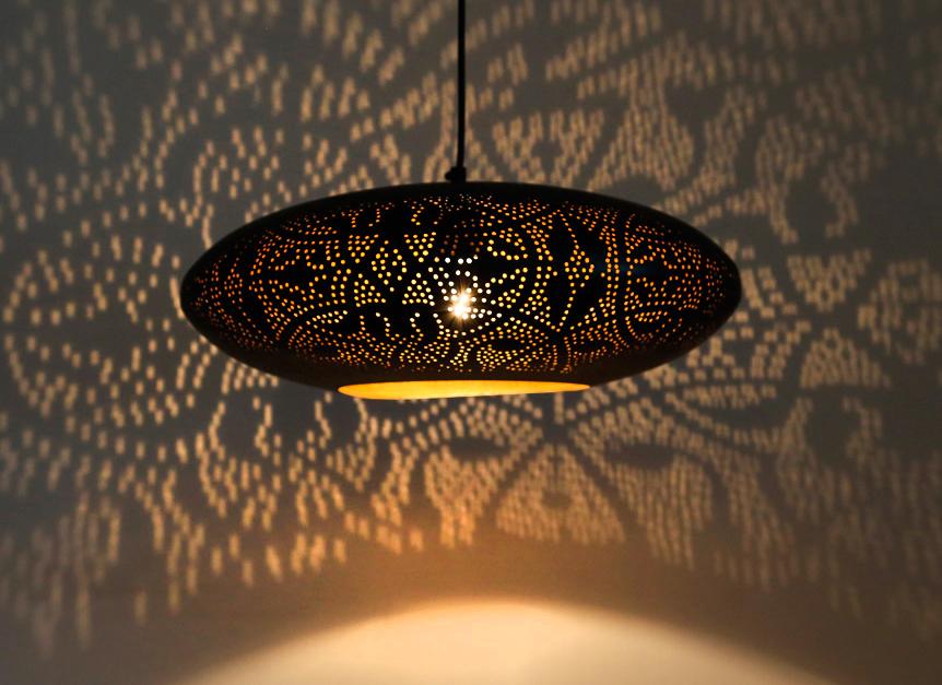 filigrain open hanglamp of gaatjeslamp in oosterse sfeer zilver goud