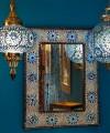 Gekleurde lamp - blauwe hanglamp pompoen mozaïek turks design