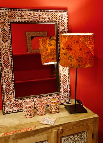 tafellamp oranje patchwork