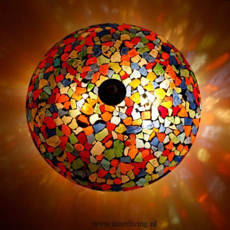 plafondlamp gekleurd glas