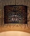 Hanglamp cylinder oosters filigrain-stijl XL metaal mat zwart finish met binnenkant goudkleurig  <strong>Bij deze bestelling krijgt u naast 10% korting ook twee bijpassende waxinehouders cadeau.</strong>