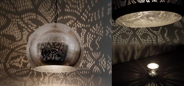 Vintage oosterse zilveren bollamp