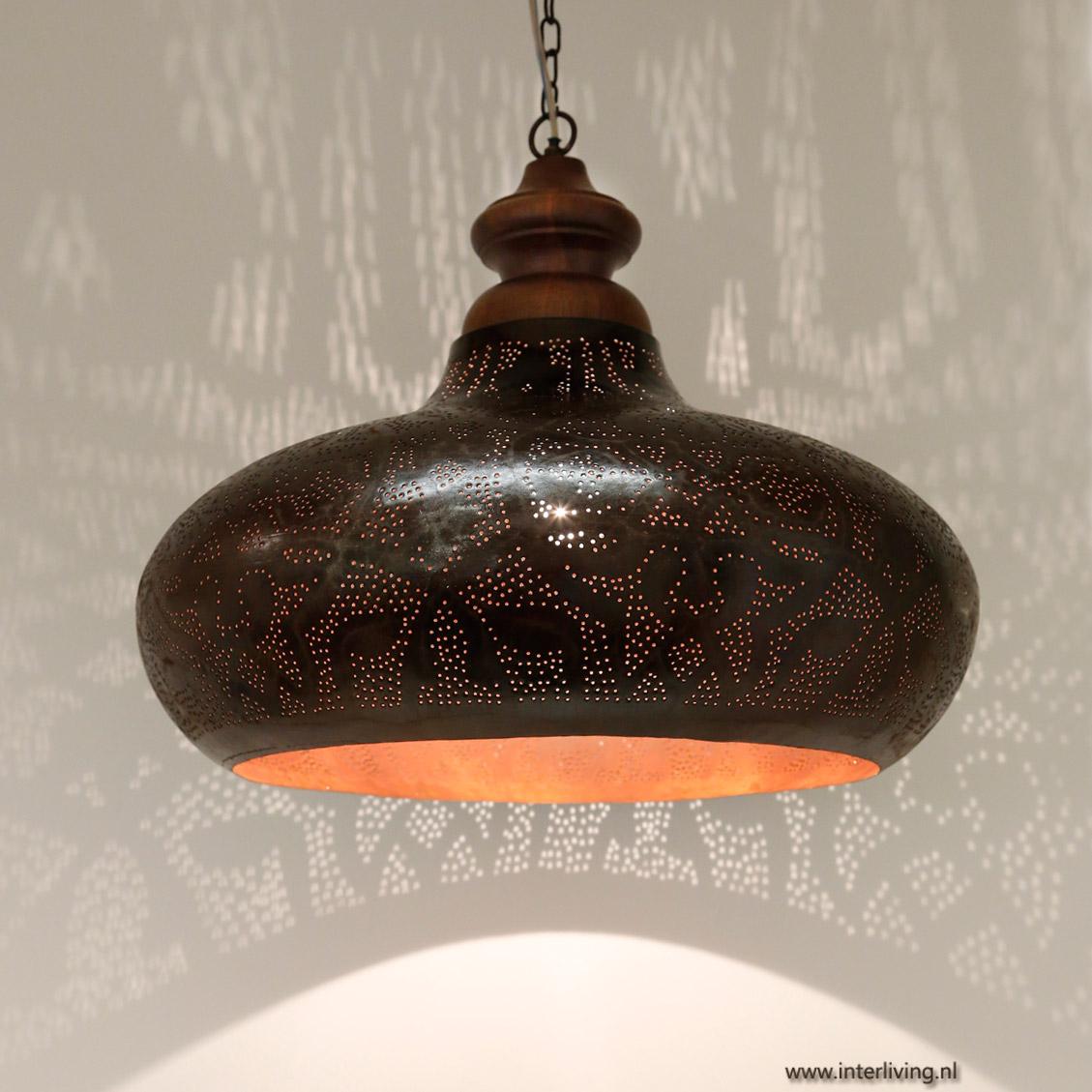 Industriële hanglamp met oosterse twist en hout   roest,zwart,goud