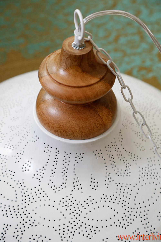 grote oosterse hanglamp wit filigrain
