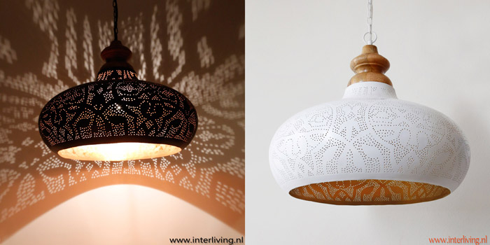 grote ronde open industrià le hanglamp wit goud oosterse basic boho