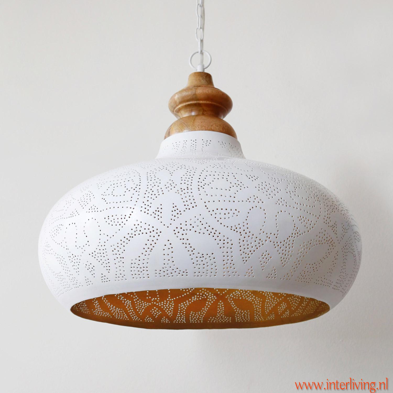 oosterse  hanglamp wit - ronde open onderkant