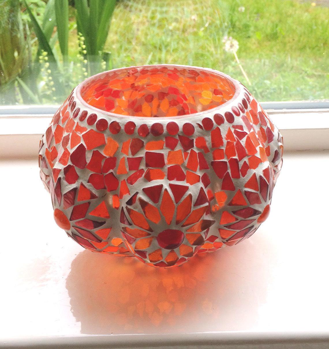 waxinelichthouder pompoen  glasmozaiek
