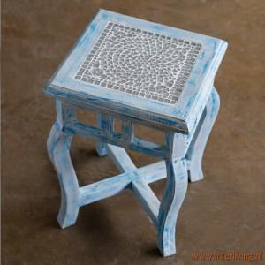 bloemtafel blauw mozaiek