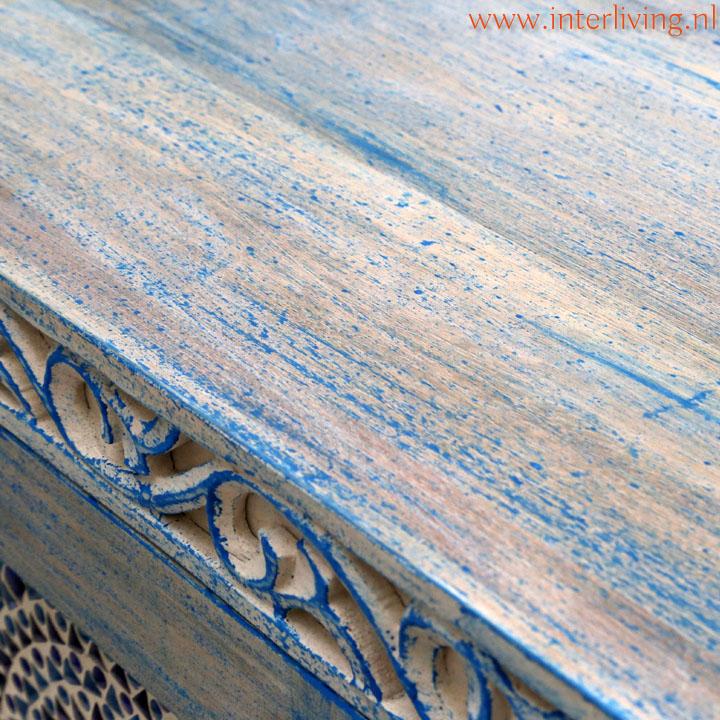 blauwe vintage meubelen India woonkamer styling tip