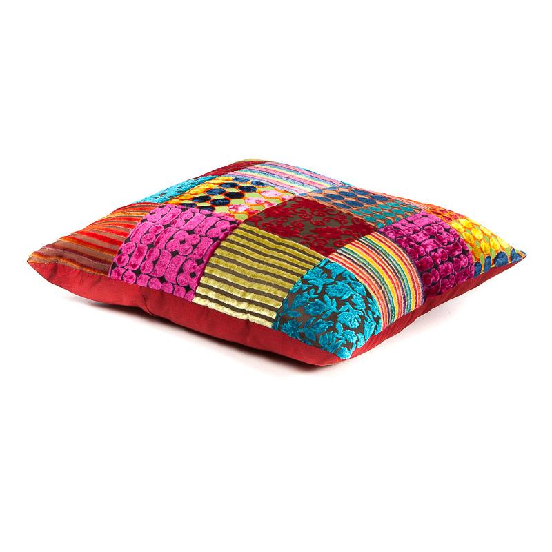 slaapkamer sierkussen - handgemaakt kleurrijk patchwork uit India, leverbaar in diverse dessins en kleuren