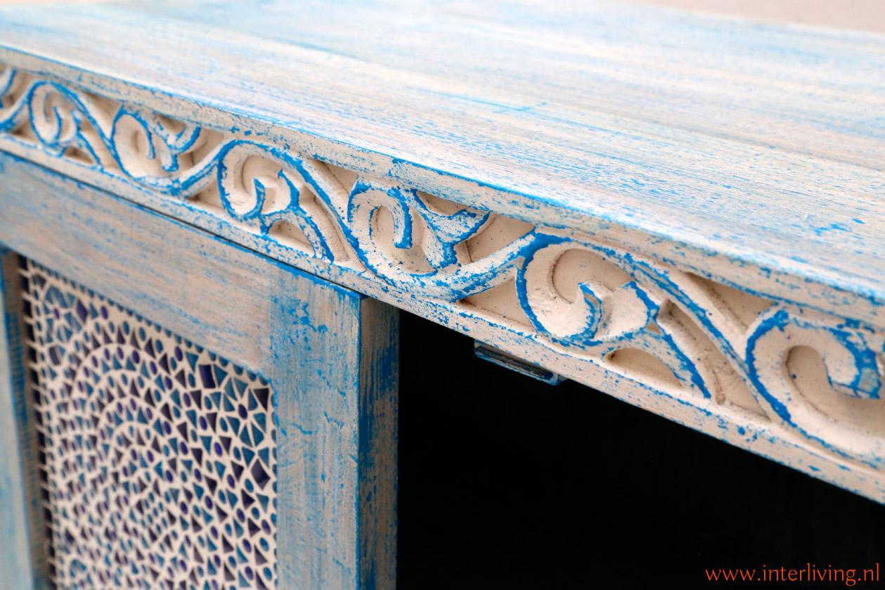 old look houten kast blauw