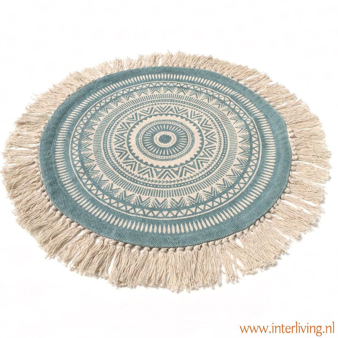 rond kleed oosters patroon in de kleur aqua en wit - rondies met kwastjes, hand geweven van katoen met print