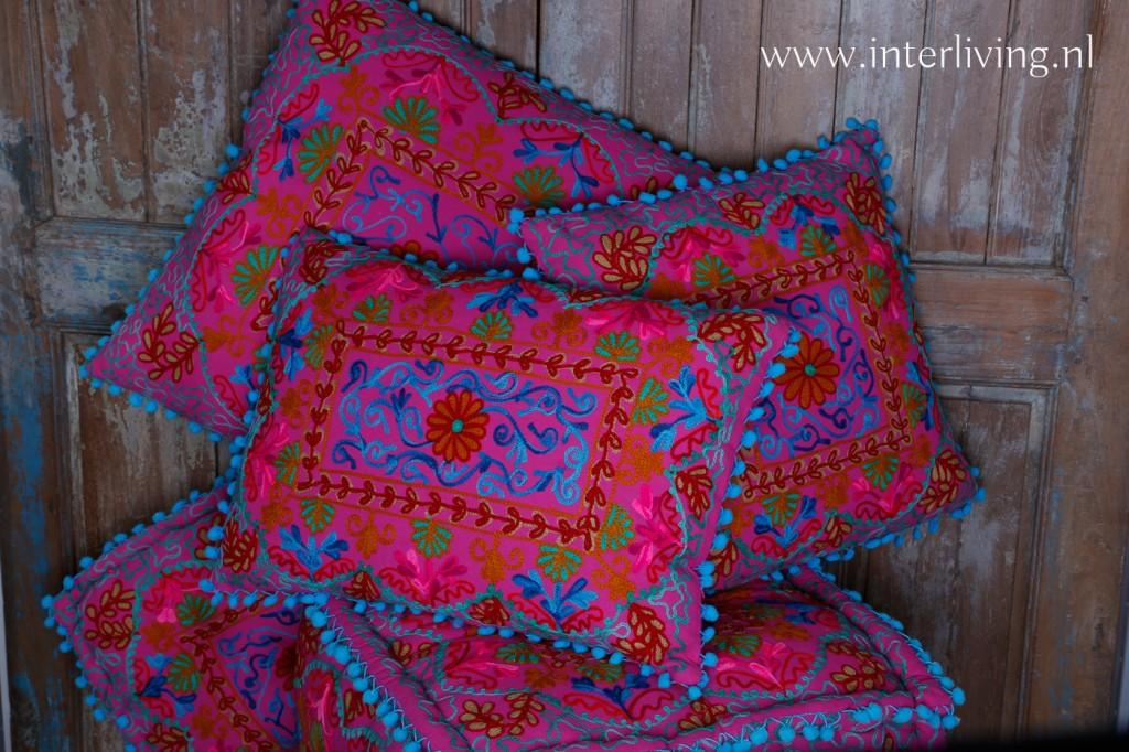 Verwonderlijk Roze Boho kussens * Gipsy Indiaas kussen * vloerkussen, vierkante poef MT-68